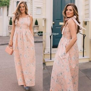 NWT ANTHROPOLOGIE Makenna Bow-Detail Maxi Dress